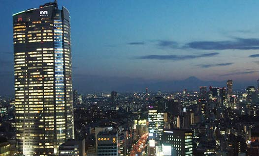Image of Roppongi's skyline at night